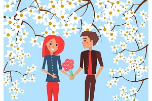Boy Presents Bouquet to Girlfriend Illustration