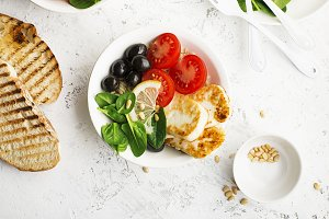 Cheese haloumi brown rice bowl with