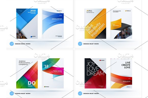 Material Design Of Business Brochure Set Abstract Horizontal Cover