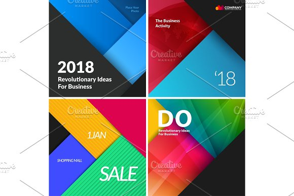 Set of material design abstract templates. Creative modern business background with colourful triangles