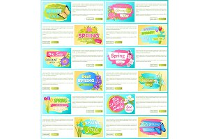 Spring Sale off Set of Advertisement Labels Flower