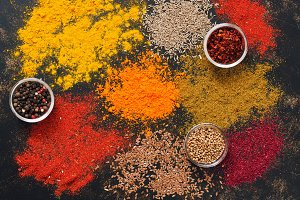 Spice. Bright variety of spices