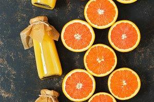 Orange juice in bottles