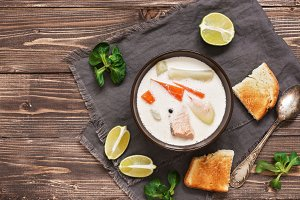 Scandinavian fish creamy soup