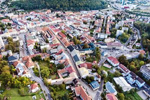 Aerial view of slovak town Banska Bystrica surrounded by mountai