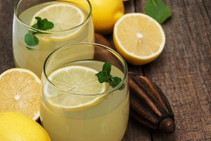 Glasses of lemon juice
