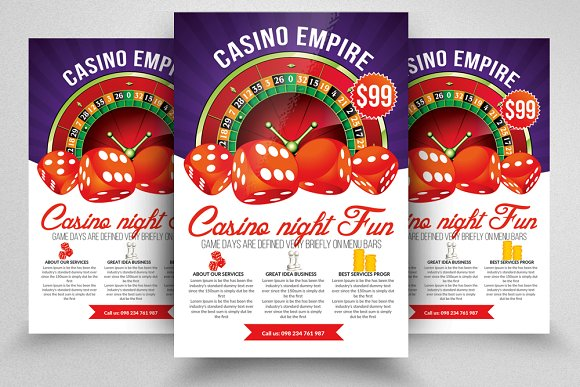 casino night editable flyer template flyer templates creative market