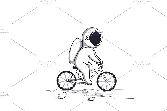 Funny Astronaut Rides On Bicycle On Moon