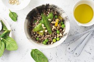 Healthy food. green buckwheat. High