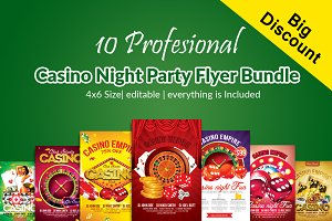 10 Casino Night Flyers Bundle