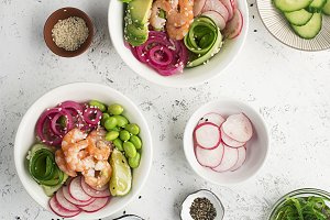 Fresh seafood recipe. Shrimp salmon