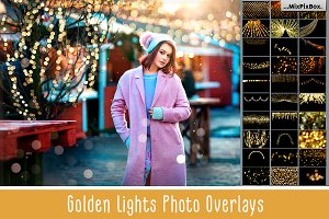 100 Golden Lights Photo Overlays