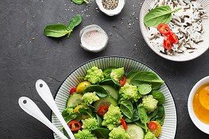 Romanesco broccoli, spinach, cherry
