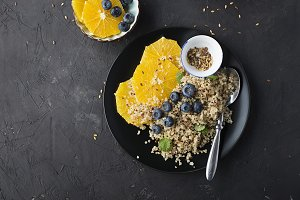 Quinoa orange blueberry bowl for bre