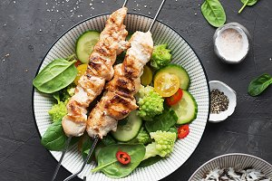 Chicken turkey skewers with fresh ve