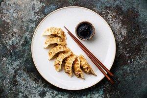 Gyoza dumplings on plate