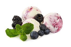 Ball of blueberry ice cream