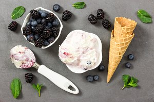 Fruit ice cream on gray stone