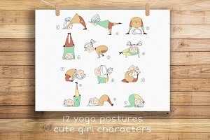 Yoga Poses with Cute Girl Character