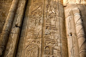 Hieroglyphics in Kom-Ombo (Egypt)