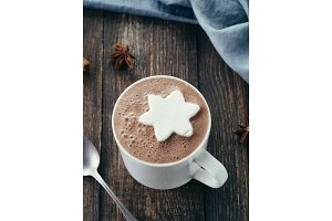 Hot chocolate with marsmallow in star shape