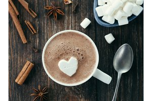 Hot chocolate with marsmallow in heart shape