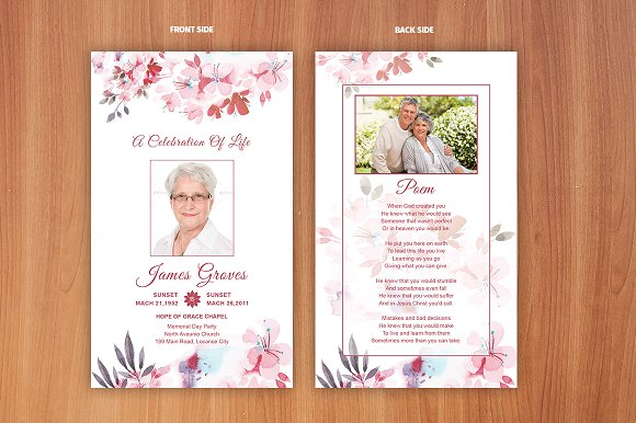 Flower Funeral Prayer Card Template