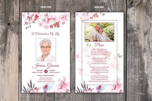 Flower Funeral Prayer Card Template ~ Card Templates ~ Creative Market