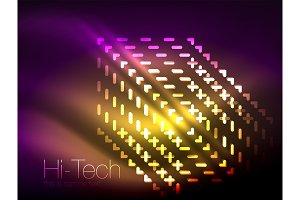 Futuristic neon lights on dark background, digital abstract techno backgrounds