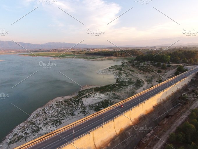 Reservoir of Bellus. Aerial view. - Architecture
