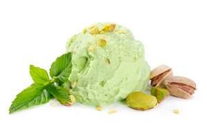 Ball of pistachio ice cream