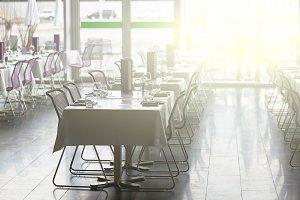 Indoor restaurant tables