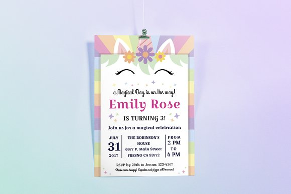 Happy Unicorn Birthday Invitation