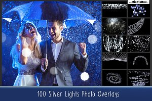 100 Silver Lights Photo Overlays