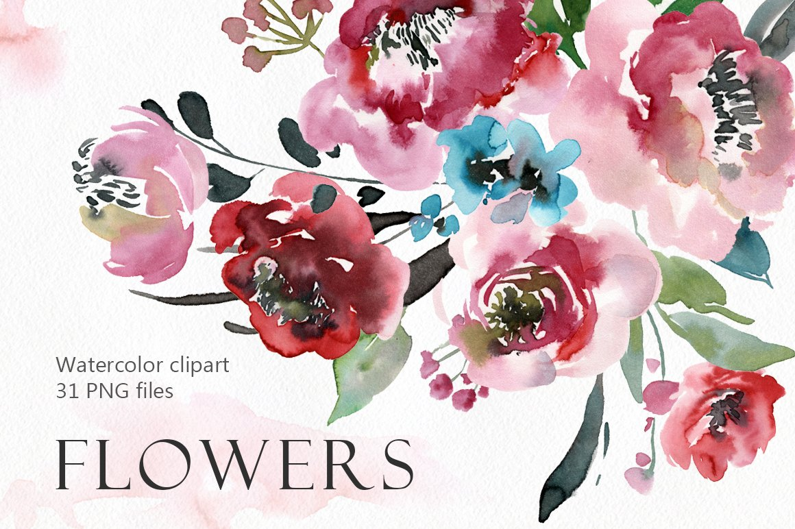 Watercolor peony, roses flowers PNG ~ Illustrations ~ Creative Market