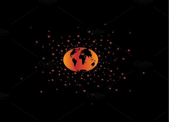 World Map Planet Neon Orange Color
