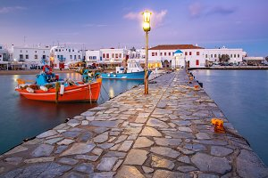 Old harbour at sunset, Mykonos, Greece