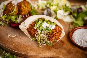 Fresh made falafel sandwich