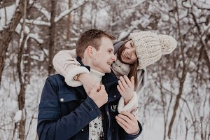 Happy Young Couple in Winter Park ha