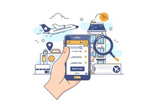 Summer holiday vacation booking online concept.Online booking design concept for mobile phone hotel, flight, car, tickets. Vector illustration