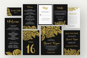 Gold roses flower black invitation