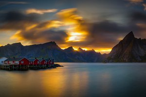 Sunset above mount Olstind and the village of Hamnoy in Norway