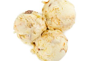 Three balls of vanilla ice cream