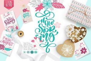 Spring lettering & floral clipart