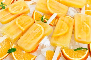 Fruit orange ice lolly
