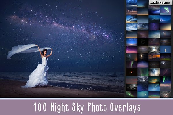 100 Night Sky Overlays