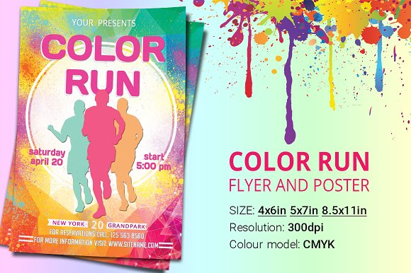 color run flyer and poster flyer templates creative market