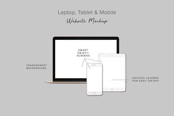 Laptop Tablet Mobile Web Mockup