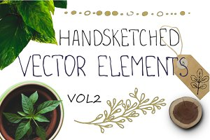 Handsketched floral elements. VOL2