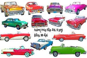 Cuban Vintage Cars Clip Art